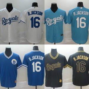 2020 Royals Men Kansas City Jersey #16 Bo Jackson Home Blue White Grey Baseball Jerseys 05