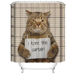 Cute Funny Swimming Cats prennent un bain Honey Claws Waterproof a déchiré les rideaux de douche 3D Digital Printing Rideaux de salle de bains avec des anneaux