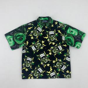 Hot Sell 19ss Milano Frankenstein camicia verde Summer Beach Coppia maglietta di modo casuale Via vacanze Kiwi Outwear Jacket HFLSCS039
