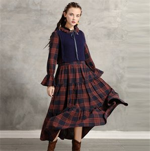 Designer Teenager Womens Dress Fashion Doll Brought Plaid Pattern Long Dress Flare Sleeve Autumn Casual Dress