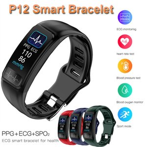 P12 ECG PPG SPO2 مراقبة ضغط سوار ذكي معدل ضربات القلب الأكسجين في الدم حزام الذكية IP67 للماء الرياضة دعوة تذكير التنفس الصناعي باند