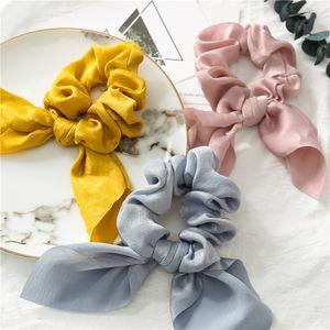 Fashion Ribbon Hair Tie Fringe Knot Large Intestine Ring Cloth Simple Solid Color Rabbit Ear Headband Satin Headdress