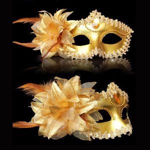 Maschera Sexy Diamante veneziano Venezia piuma fiore di cerimonia nuziale Carnival Party prestazione del costume del sesso Signora mascherata maschera di Halloween
