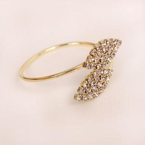 بلينغ خاتم منديل حامل الماس ليف تصميم خاص الفولاذ المقاوم للصدأ الذهب خاتم الزواج منديل الجدول الديكور