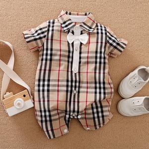 Neugeborene Baby-Kleidung Short Sleeve Plaid Kleidung Neugeborene Strampler Carters Twins Infant Jumpsuits Kinder Babygrow Things Kinder Pyjamas