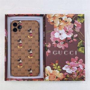 Cas cellules de souris en cuir de téléphone avec la lettre Marque pour iPhone 11 pro max XR 7 8 Luxe Cases Designer avec boîte