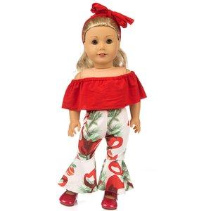 Çocuklarda en iyi hediye için Amerikalı kız 18inch bebek giysileri için Moda seti elbise + hairbrand
