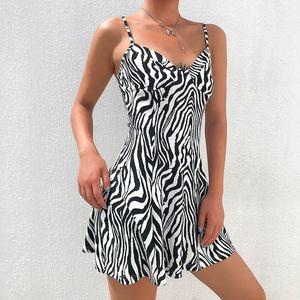 Women Mini Dresses Zebra Pattern Straped Sleeveless A-line Dress Girl Slim Fit Streetwear Fashion Style Dresses