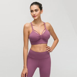 2019 Before Folds Sports Underwear Female Sexy Cross Beauty Back Shockproof Upper Support Solid Color Sports Bra