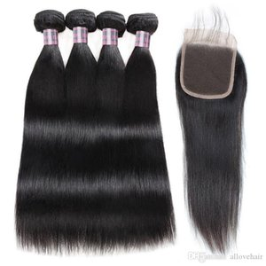 Straight 4PCS with Closure Malaysian Virgin Hair Wefts Brazilian Human Hair Bundles Indian Hair Extensions With Lace Closure Wholesale