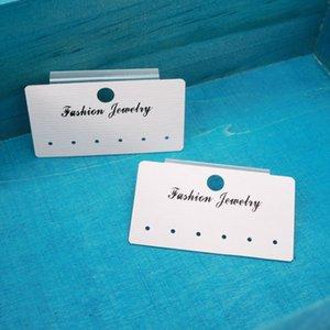 500pcs 3 LOGO * 5.5cm tarjeta pendiente de la joyería de papel PVC blanca oído de la joyería Espárragos Colgar etiquetas de precio pendiente de las tarjetas gráficas pueden personalizado