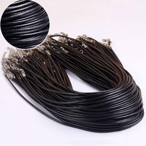 Cera de couro preto Cobra Colares Beading Cord Corda Corda Fio 45 cm Extender Cadeia com Fecho Da Lagosta Jóias DIY Cadeias de Linha 1.5mm 2mm