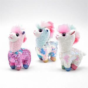 Alpaga Sequin animaux Fluffy Keychain Sac Pompon Porte-clés Sacs Poupée en peluche Pendentif PP jouets en coton