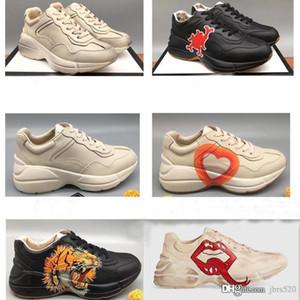 Mann Plattform Freizeitschuhe Leder Sneaker Designer-Schuhe mit Strawberry Wave Mund Tiger Web Print Luxus Vintage Frauen Dickbesohlte Schuhe