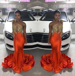 흑인 소녀 새틴 인어 긴 댄스 파티 드레스 2020 얇은 긴 소매 어깨 하나 새해 정장 파티 저녁 연예인 가운 BC4042