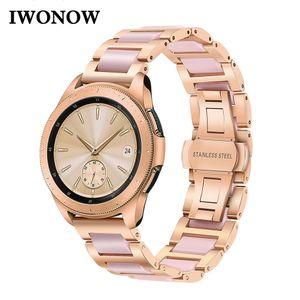 Stainless Steel & Ceramic Watchband 20mm for Samsung Galaxy Watch 42mm Gear S2 Classic Garmin Vivoactive3 Women Band Wrist Strap