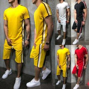 Полосатые летние новые мужские шорты повседневные костюмы спортивная одежда Мужская одежда мужские наборы брюки мужская толстовка мужская брендовая одежда