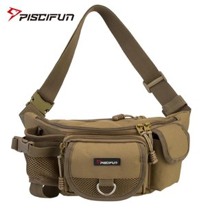 Cheap s Piscifun Fishing Multifunctional Outdoor Waist Bag Portable Lure Waist Pack Messenger Bag Pole Package Fishing Tackle Bag