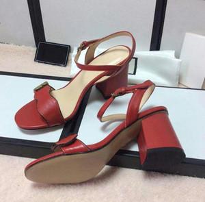 Vendita calda-Designer sandalo di lusso Tacchi Alti Vestito di Cuoio Scarpe Da Sposa Sexy Scarpe doppie lettere Sandali Tacco Scarpe Da Donna mid-tacco sandalo