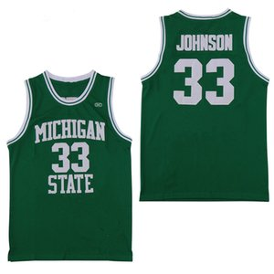 Homens NCAA Michigan State Spartans 33 Earvin Johnson Magic LA Verde Branco Faculdade Everett High School Basquete Jerseys Camisas costuradas