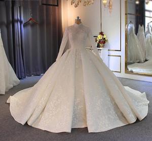 2020 Vintage 3D broderie dentelle Applique robe de bal de mariage Robes de mariée cou Taille Plus robe de mariée Manches longues Robes de mariée