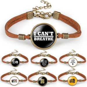 14 stile non riesco a respirare braccialetto nero Abita Materia Protesta contro gli uomini e le donne Caffè velluto corda polsino del braccialetto del regalo gioielli