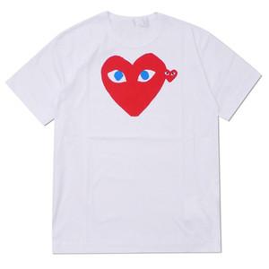 2019 COM del nuevo nuevo caliente holiday Emoji GARCONS blanco japonés Negro de los lunares del corazón camiseta blanca para mujer para hombre