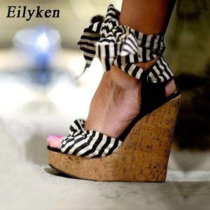 Eilyken 2019 New Designer Cotton Fabric Summer Roman Sandals High Quality Wedges High Heels Sexy Peep-toe Platform Shoes Woman Y19070103