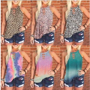 Os mais recentes mulheres camisetas Tie-dye Leopard mangas Vest Shirt Casual Primavera-Verão Crew Neck Pullover Top Lady Romewear vestuário S-3XL D61201