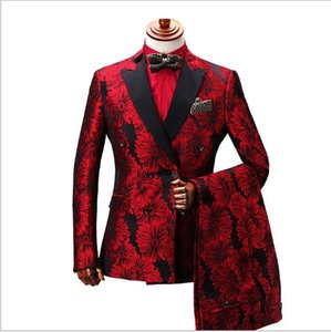2019 Fashion Double-Breasted Red Floral Mens Groom Wedding Suits Slim Fit Prom Dress Custom Made Suit Groomsman Tuxedo For Men