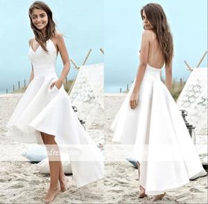 2019 Summer Beach Wedding Dresses Spaghetti Straps Satin Backless High Low Garden A Line Wedding Bridal Gowns BC0354