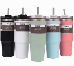 New Style 20 Unzen 30 Unzen Tumbler Double Wall Edelstahl-Vakuum Große Reise-Becher Kaffeetassen mit spritzwassergeschütztem Lids Strohhalme Isolierte