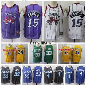 Vintage RaptorsJersey Gençlik Çocuklar 33 Larry Bird 15 Vince Carter 1 Anfernee Hardaway 34 Shaquille O'Neal Basketbol Jersey Dikişli