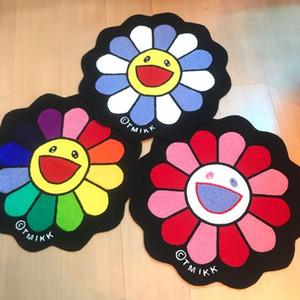 가정용 가구 유행 무라카미 타카시 해바라기 카펫 독창성 욕실 도어 매트 무지개 꽃 러그 커피 테이블 바닥 매트