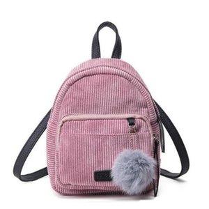 Zaino Piccolo Mini Zaino Piccolo Donne Borsa a tracolla sfera della pelliccia di colore solido Corduroy Zaino invernale Velvet Schoolbag