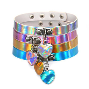 Rainbow Laser Love Heart Collar PU Collar de cuero Gargantilla Collar Sub Slave Collar para mujer Joyería de moda