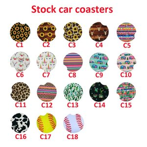 Neoprene Car Cup Mat Contrast Mug Coaster Cactus Flower Teacup Rainbow Leopard colors Pad for Home Decor Accessories