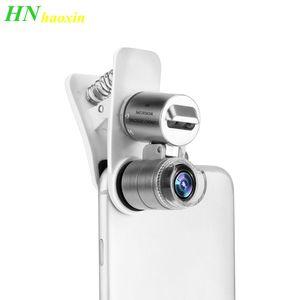 Lentes LED Haoxin Universal Mobile Phone Microscope Lens Macro 60X Zoom Óptico Magnifier Micro Camera clipe para iPhone Samsung Android