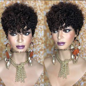 Kısa Sassy Curl Pixie Cut peruk sapıkça kıvırcık İnsan Saç Peruk İçin Kadınlar Brezilyalı Remy saç% 150 tam Yoğunluk bob peruk