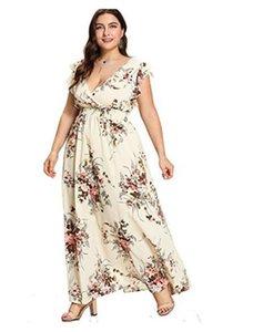 Plus Size vestiti delle donne casuali del progettista stampa floreale Vestiti manica corta Abbigliamento Donna Moda Natural Color Abiti
