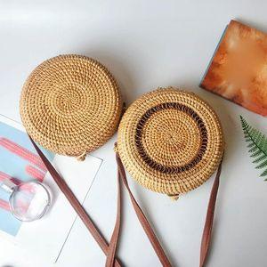 2019 Sac femmes plage été Totes avec fermeture éclair Cercle Handwoven Bali ronde en rotin Rétro paille Sac à bandoulière Sac à bandoulière #S