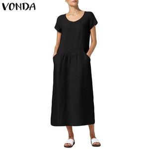 VONDA Women Dress 2019 Estate Casual allentato Vintage a metà polpaccio Abiti lunghi Maxi Sexy scollo a V manica corta Vestidos Plus Size