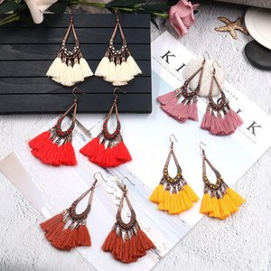 Wholesale 2020 designer European and American big-selling bohemian creative drop-shaped earrings with tassel rice beads long cotton clo