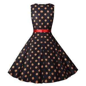 Casual Dresses Fashion Autumn Pumpkin Head Print Sashes Womens Dresses Fashion Females Clothing Womens Saints Day