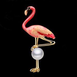 Flamingo Spilla Color Drop Oil Accessori tridimensionali natalizi Abbigliamento Corsage Suit Pin Pearl Premium Silk Scarf Buckle 24PCS