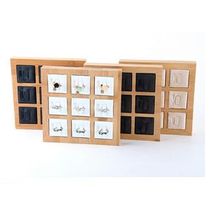 High-End Madeira e Bambu 9-bit Anel visualizar a bandeja PU Velvet couro jóias mostrar Bracket Casal Casal assento Anel