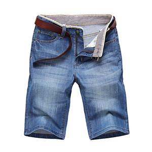 ClassDim Herren Denim Shorts gute Qualität kurzer Jeans Men Cotton Solide gerade kurze Jeans Male Blue Leger