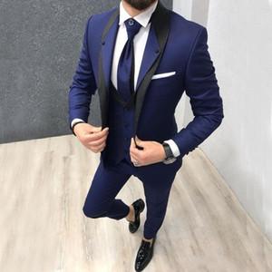 Dunkelblaue Bräutigam Smoking Doppelkragen Groomsmen Mens Hochzeitskleid Excellent Man Jacket Blazer 3-teiliger Anzug (Jacke + Hose + Weste + Krawatte) 1665