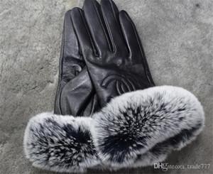 damas de invierno guantes de cuero calientes con los guantes de piel de oveja de dedo de la pantalla táctil. Ninguna caja