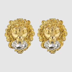 Il nuovo oro d'avanguardia di modo orecchini delle donne Giallo placcato CZ libera Lion Head Orecchini per ragazze Donne bel regalo per gli amici